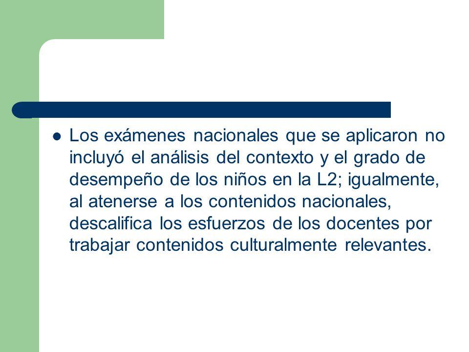 Los exámenes nacionales que se aplicaron no incluyó el análisis del contexto y el grado de desempeño de los niños en la L2; igualmente, al atenerse a