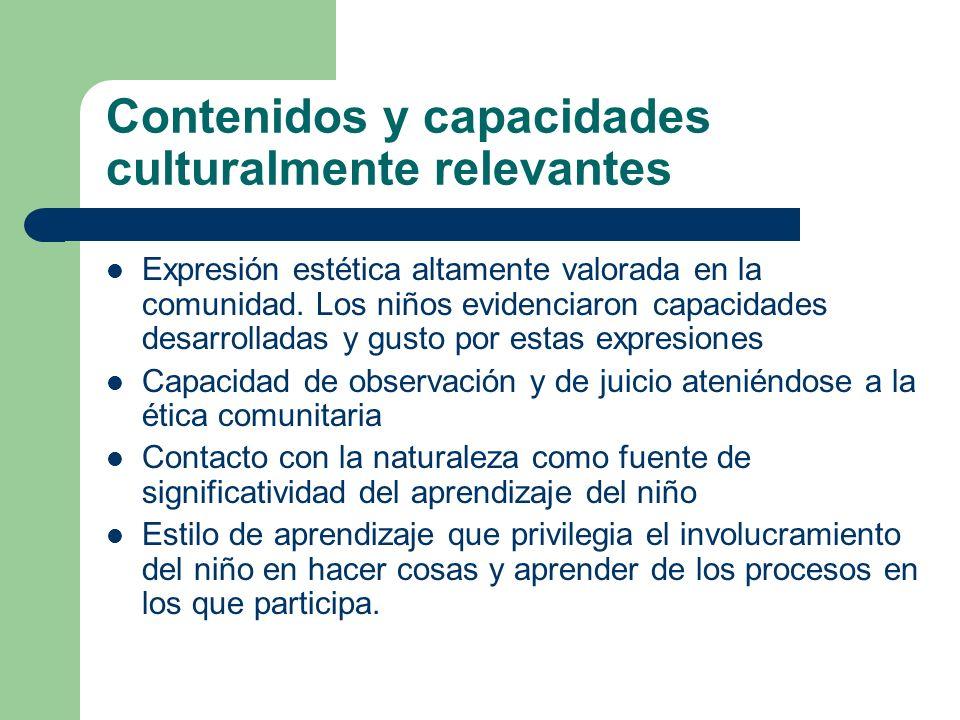Contenidos y capacidades culturalmente relevantes Expresión estética altamente valorada en la comunidad. Los niños evidenciaron capacidades desarrolla