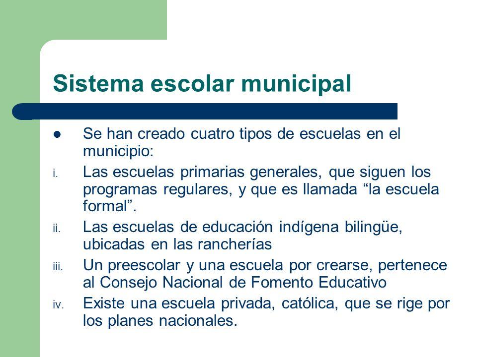 Sistema escolar municipal Se han creado cuatro tipos de escuelas en el municipio: i. Las escuelas primarias generales, que siguen los programas regula