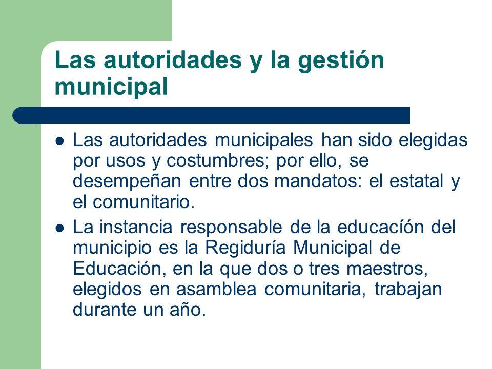 Las autoridades y la gestión municipal Las autoridades municipales han sido elegidas por usos y costumbres; por ello, se desempeñan entre dos mandatos