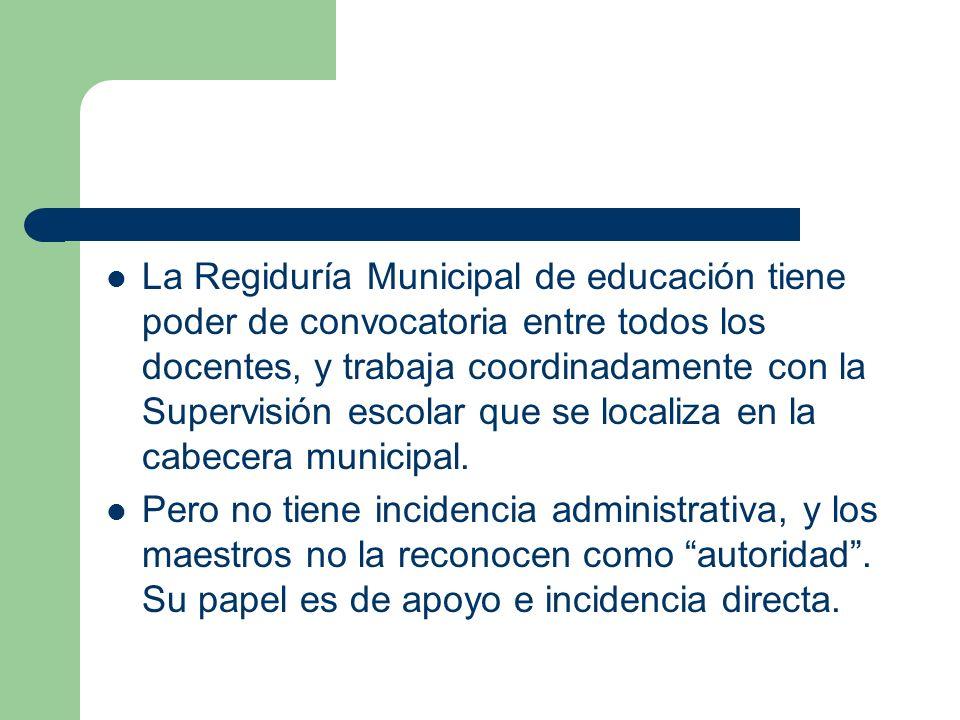 La Regiduría Municipal de educación tiene poder de convocatoria entre todos los docentes, y trabaja coordinadamente con la Supervisión escolar que se