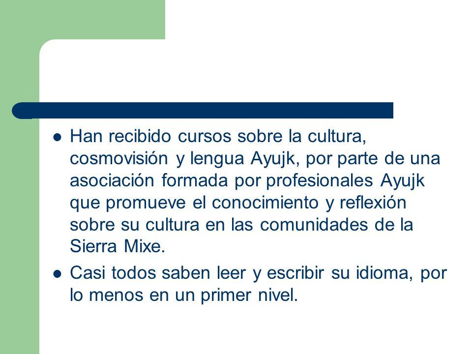 Han recibido cursos sobre la cultura, cosmovisión y lengua Ayujk, por parte de una asociación formada por profesionales Ayujk que promueve el conocimi