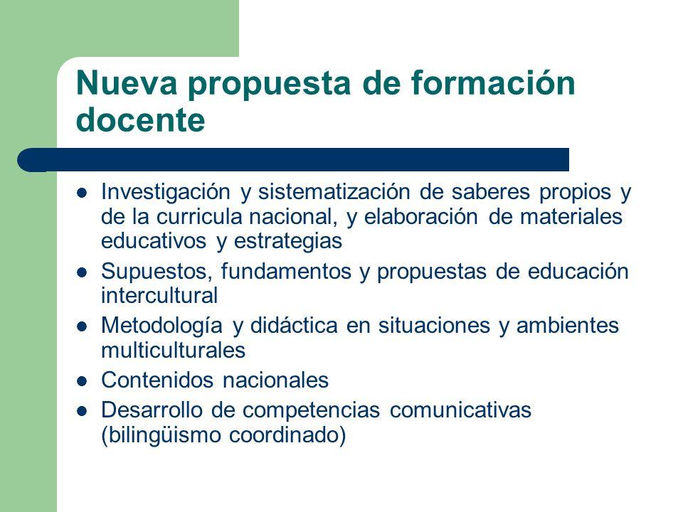 Nueva propuesta de formación docente Investigación y sistematización de saberes propios y de la curricula nacional, y elaboración de materiales educat
