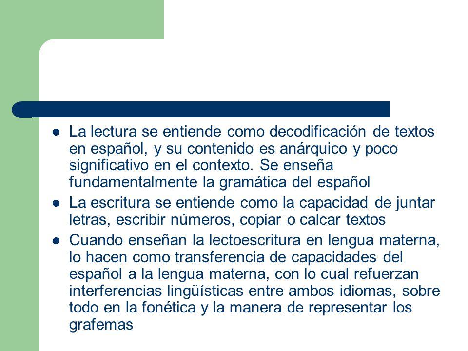 La lectura se entiende como decodificación de textos en español, y su contenido es anárquico y poco significativo en el contexto. Se enseña fundamenta