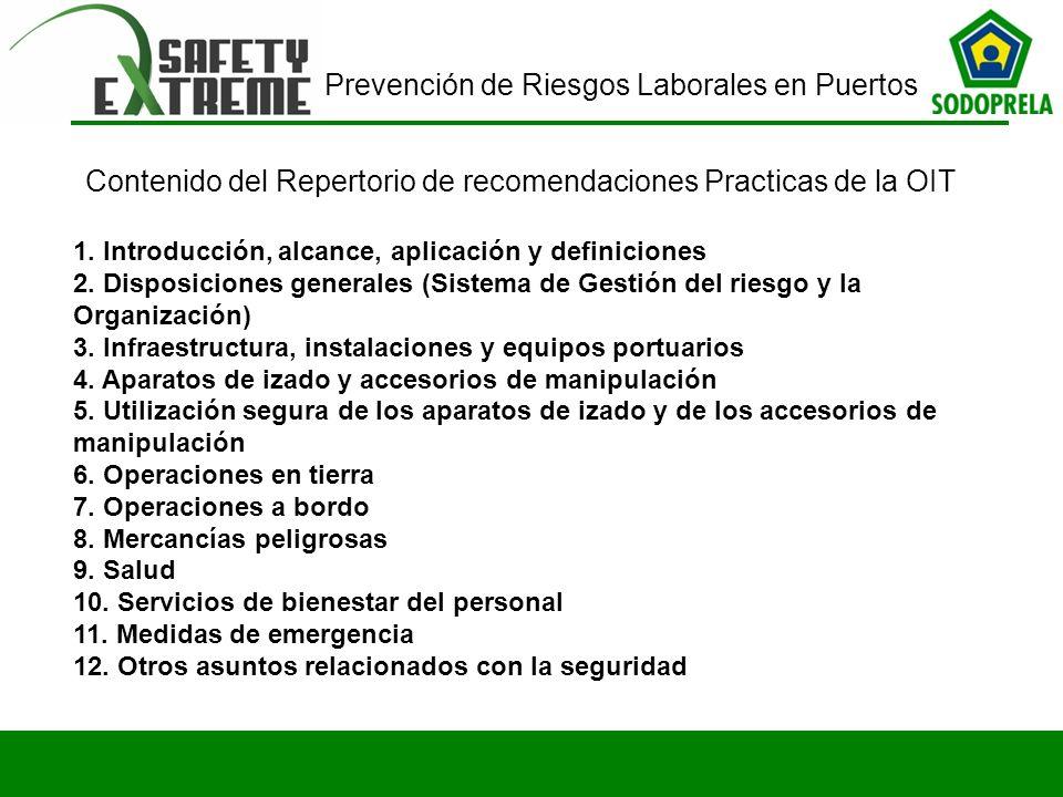 Prevención de Riesgos Laborales en Puertos 1. Introducción, alcance, aplicación y definiciones 2. Disposiciones generales (Sistema de Gestión del ries