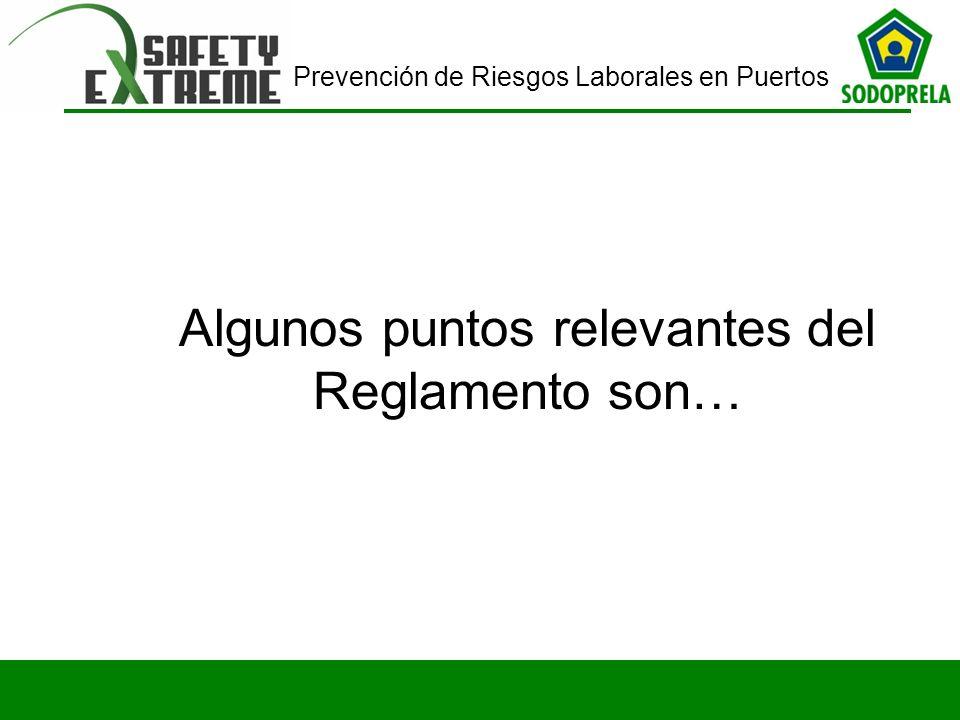 Prevención de Riesgos Laborales en Puertos Algunos puntos relevantes del Reglamento son…