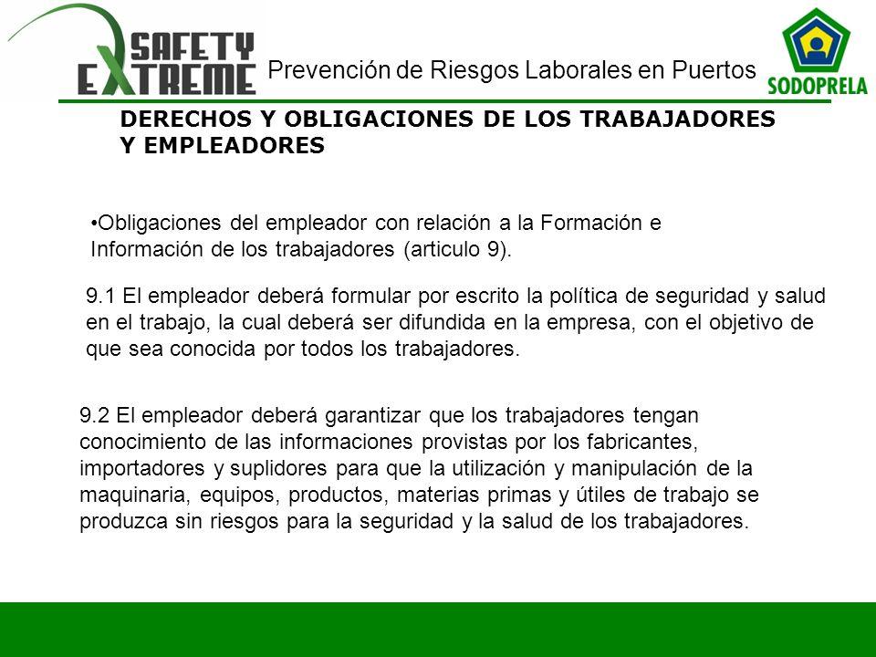 DERECHOS Y OBLIGACIONES DE LOS TRABAJADORES Y EMPLEADORES Obligaciones del empleador con relación a la Formación e Información de los trabajadores (ar
