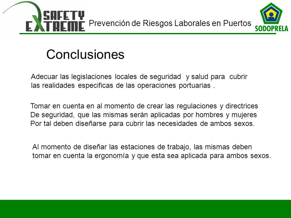 Prevención de Riesgos Laborales en Puertos Conclusiones Adecuar las legislaciones locales de seguridad y salud para cubrir las realidades especificas