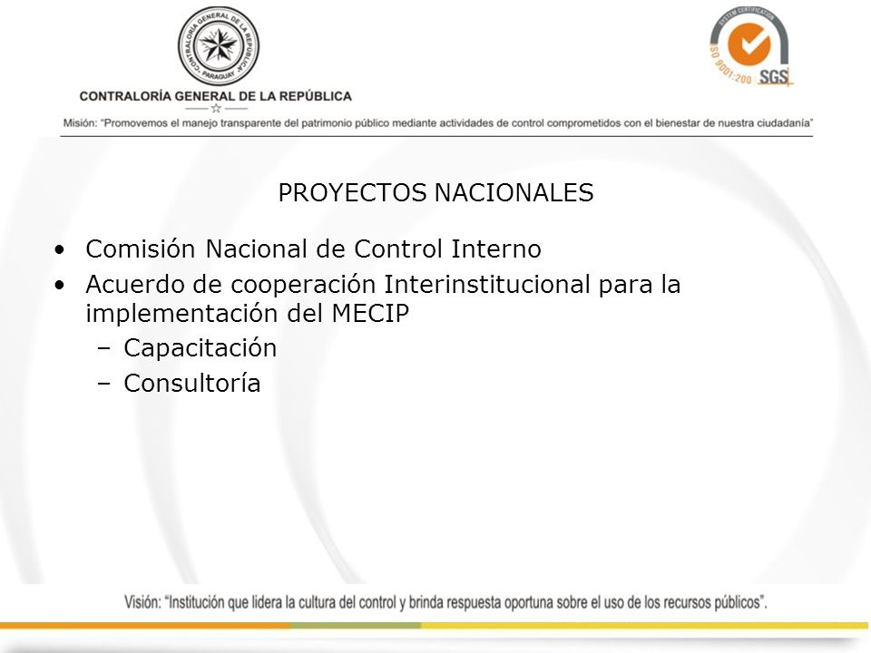 PROYECTOS NACIONALES Comisión Nacional de Control Interno Acuerdo de cooperación Interinstitucional para la implementación del MECIP –Capacitación –Co