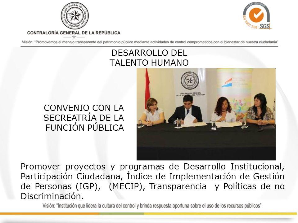 DESARROLLO DEL TALENTO HUMANO Promover proyectos y programas de Desarrollo Institucional, Participación Ciudadana, Índice de Implementación de Gestión