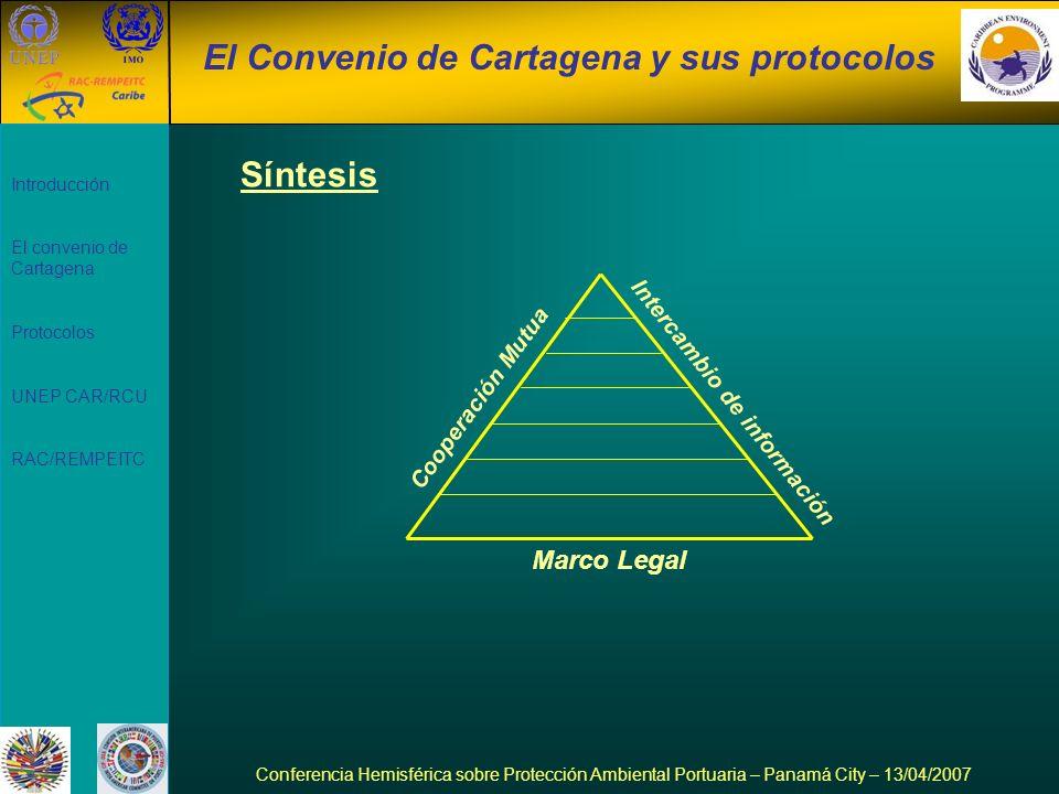 Introducción El convenio de Cartagena Protocolos UNEP CAR/RCU RAC/REMPEITC El Convenio de Cartagena y sus protocolos Conferencia Hemisférica sobre Pro