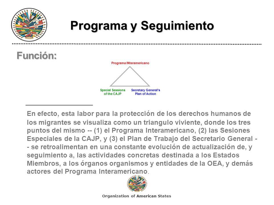 Programa y Seguimiento Programa y Seguimiento Función: En efecto, esta labor para la protección de los derechos humanos de los migrantes se visualiza