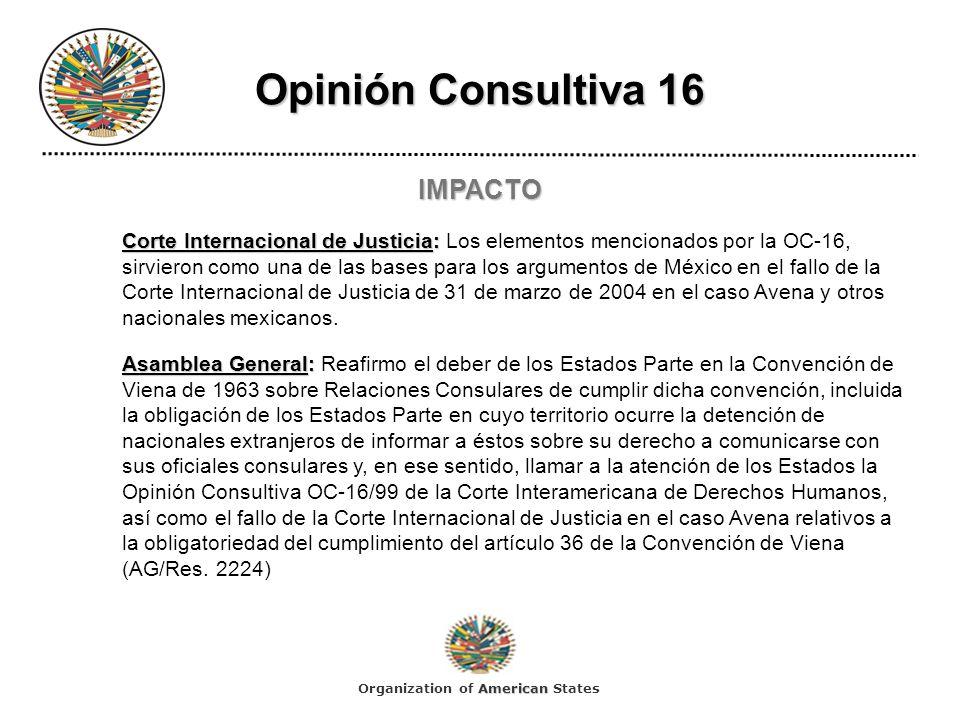 Opinión Consultiva 16 IMPACTO Corte Internacional de Justicia: Corte Internacional de Justicia: Los elementos mencionados por la OC-16, sirvieron como