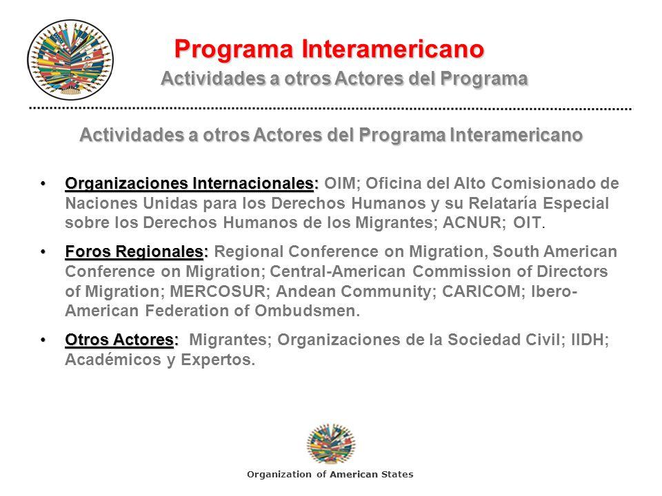 Programa Interamericano Actividades a otros Actores del Programa Actividades a otros Actores del Programa Interamericano Organizaciones Internacionale