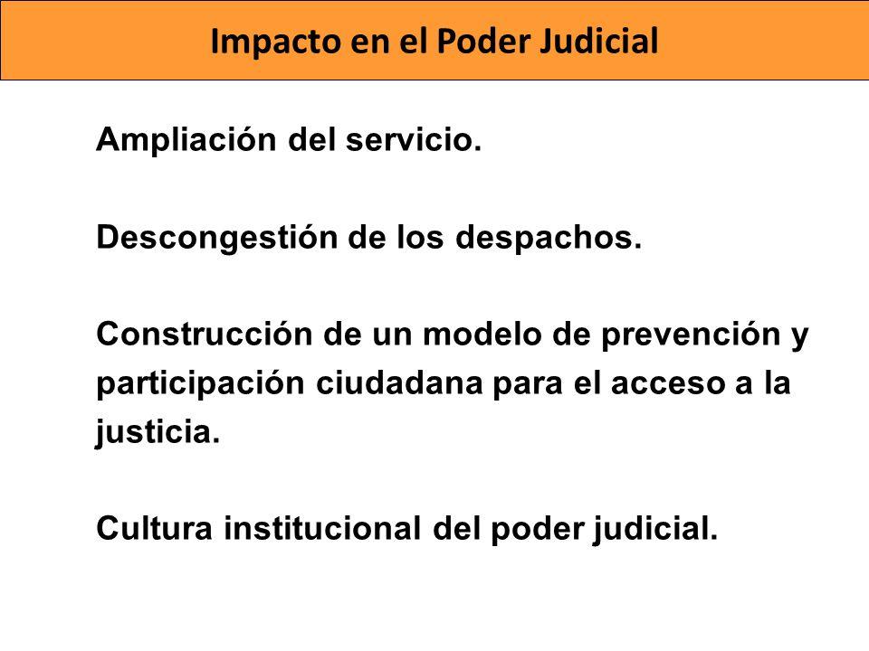 Impacto en el Poder Judicial Ampliación del servicio. Descongestión de los despachos. Construcción de un modelo de prevención y participación ciudadan