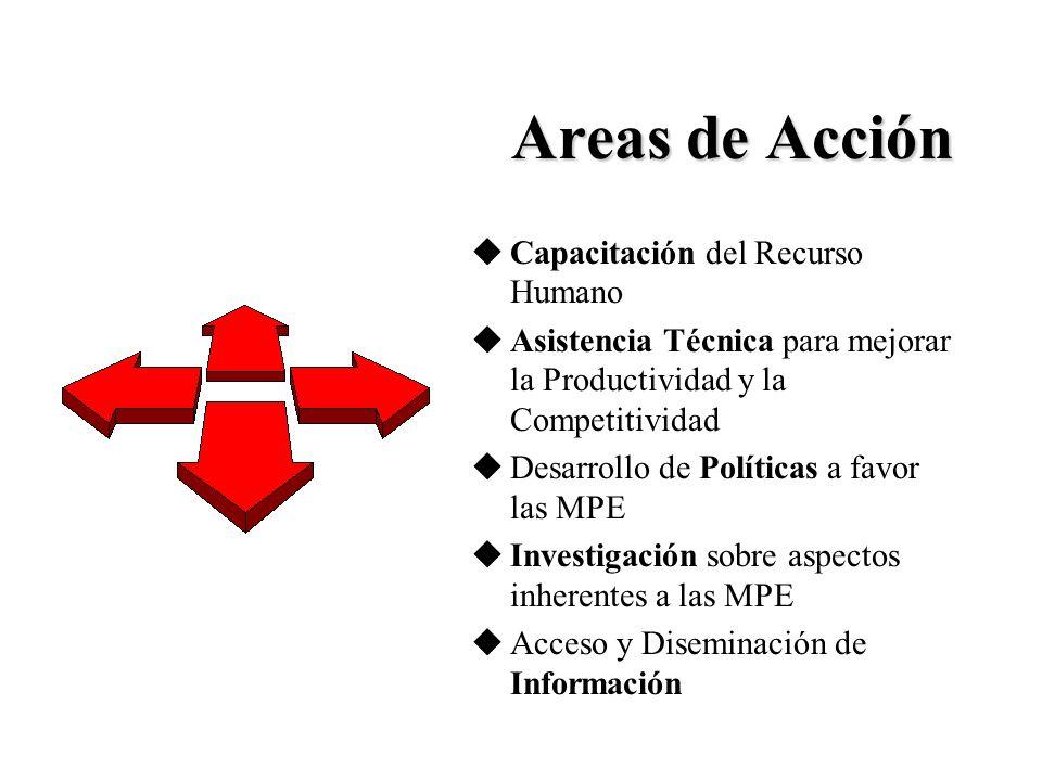 Areas de Acción uCapacitación del Recurso Humano uAsistencia Técnica para mejorar la Productividad y la Competitividad uDesarrollo de Políticas a favor las MPE uInvestigación sobre aspectos inherentes a las MPE uAcceso y Diseminación de Información