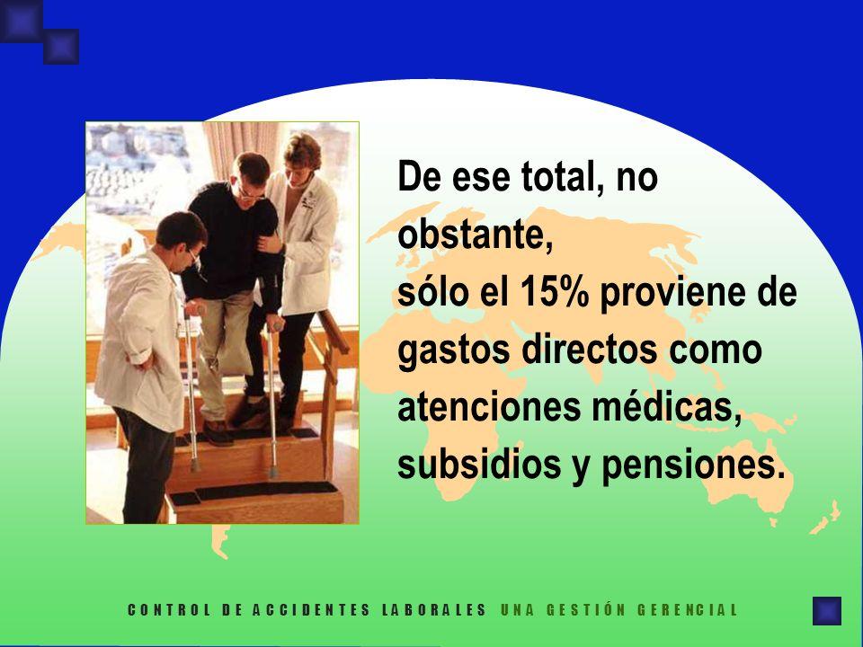 De ese total, no obstante, sólo el 15% proviene de gastos directos como atenciones médicas, subsidios y pensiones. C O N T R O L D E A C C I D E N T E