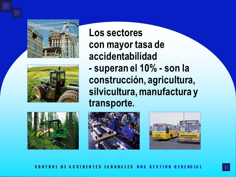 Los sectores con mayor tasa de accidentabilidad - superan el 10% - son la construcción, agricultura, silvicultura, manufactura y transporte. C O N T R