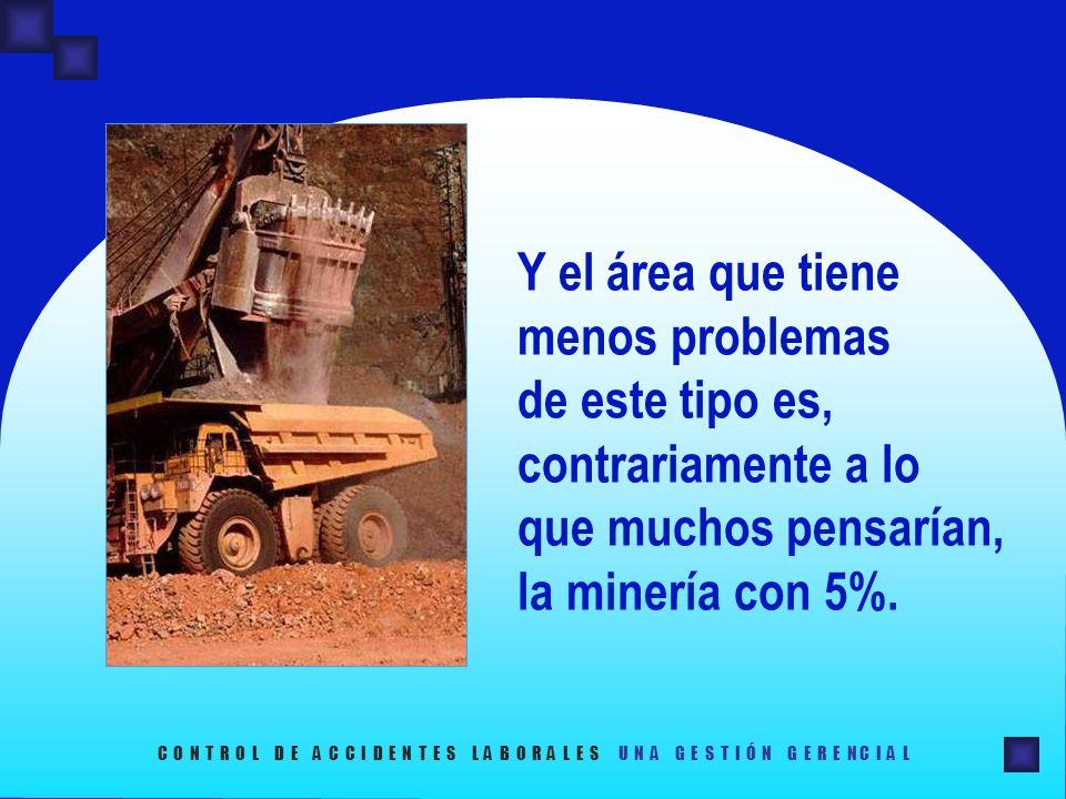 Y el área que tiene menos problemas de este tipo es, contrariamente a lo que muchos pensarían, la minería con 5%. C O N T R O L D E A C C I D E N T E