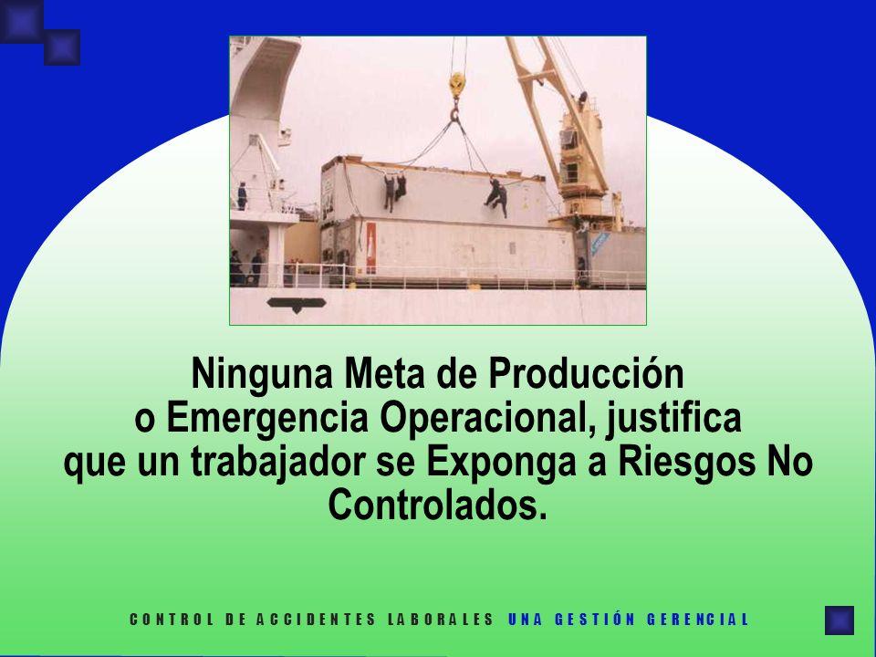 Ninguna Meta de Producción o Emergencia Operacional, justifica que un trabajador se Exponga a Riesgos No Controlados. C O N T R O L D E A C C I D E N