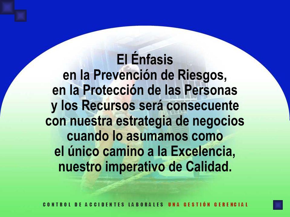 El Énfasis en la Prevención de Riesgos, en la Protección de las Personas y los Recursos será consecuente con nuestra estrategia de negocios cuando lo