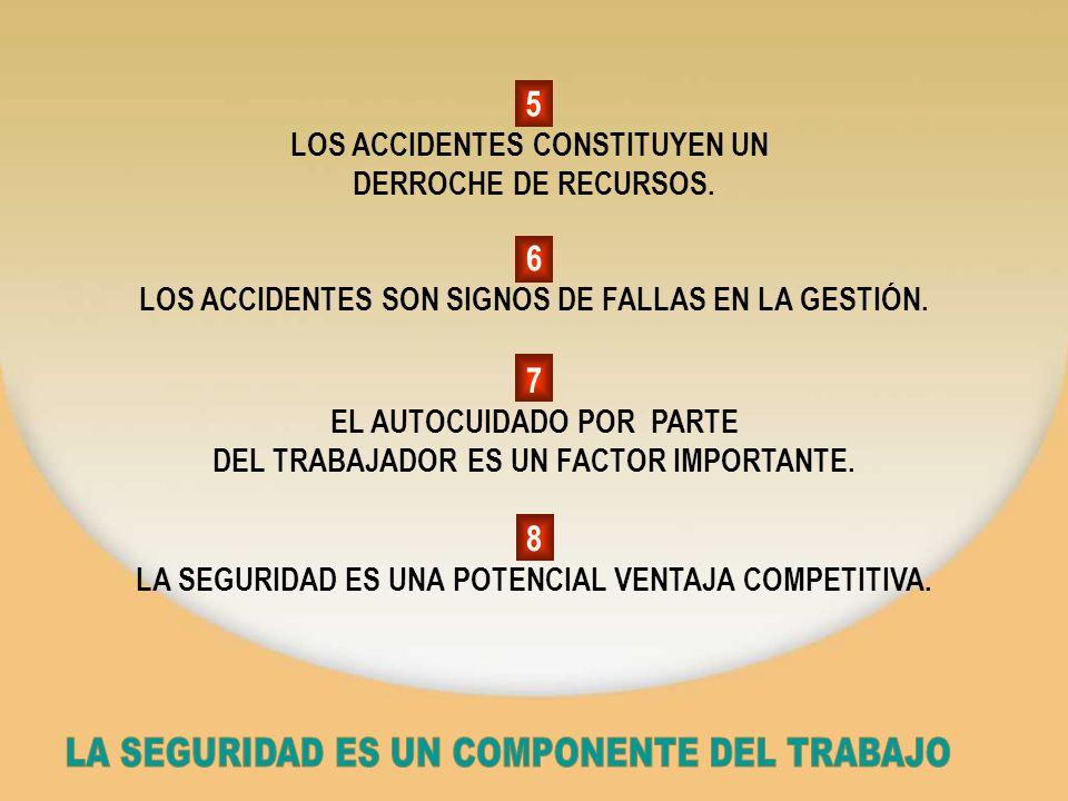 5 LOS ACCIDENTES CONSTITUYEN UN DERROCHE DE RECURSOS. 6 LOS ACCIDENTES SON SIGNOS DE FALLAS EN LA GESTIÓN. 7 EL AUTOCUIDADO POR PARTE DEL TRABAJADOR E