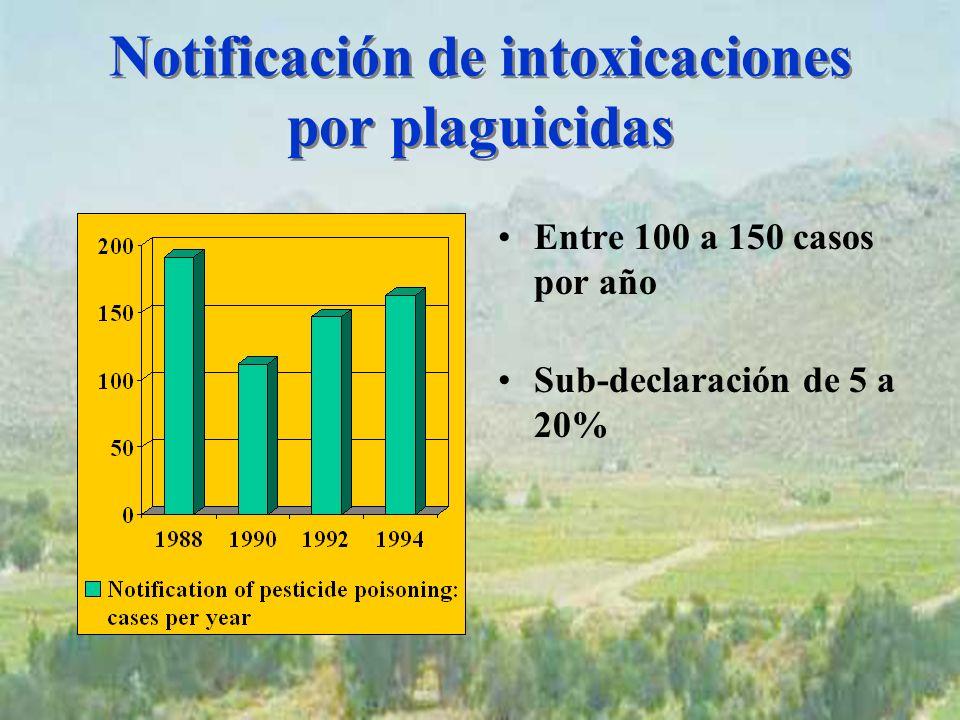 Notificación de intoxicaciones por plaguicidas Entre 100 a 150 casos por año Sub-declaración de 5 a 20%