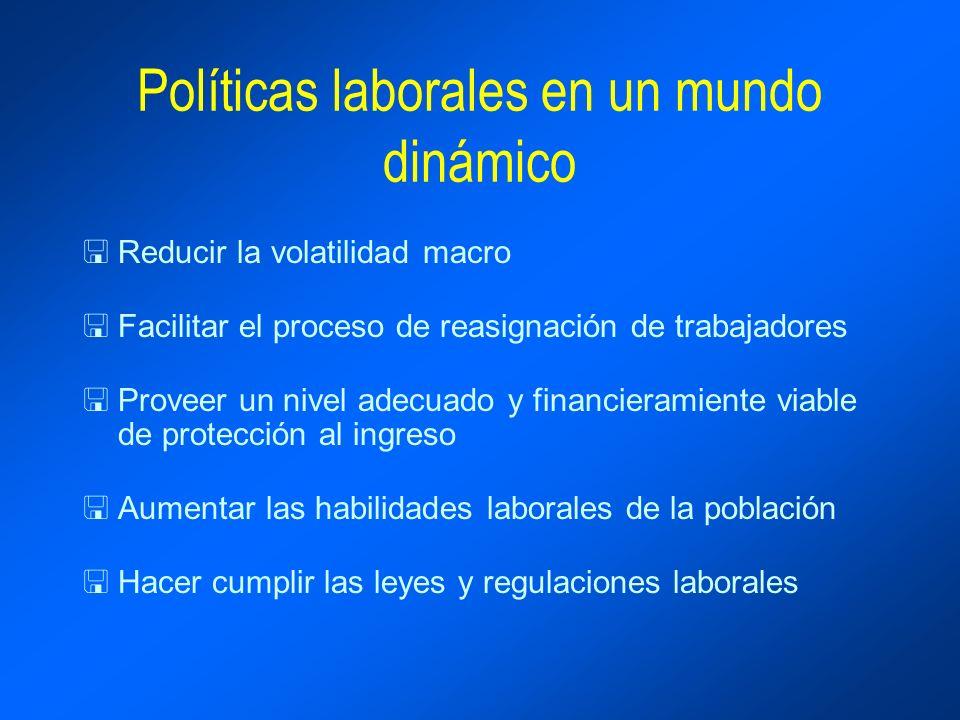 Políticas laborales en un mundo dinámico <Reducir la volatilidad macro <Facilitar el proceso de reasignación de trabajadores <Proveer un nivel adecuad