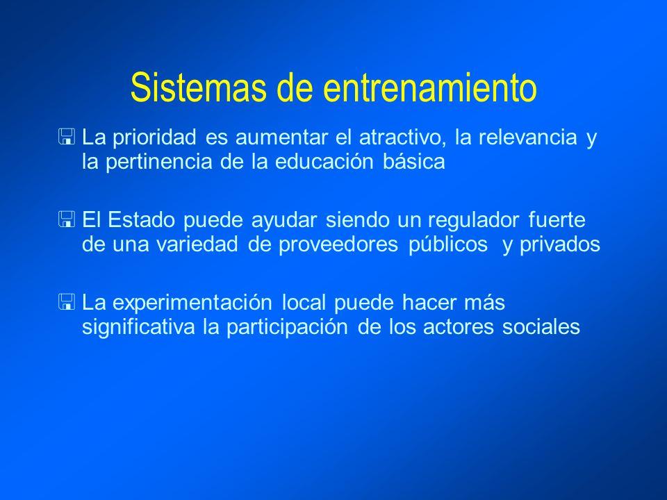 Sistemas de entrenamiento <La prioridad es aumentar el atractivo, la relevancia y la pertinencia de la educación básica <El Estado puede ayudar siendo un regulador fuerte de una variedad de proveedores públicos y privados <La experimentación local puede hacer más significativa la participación de los actores sociales