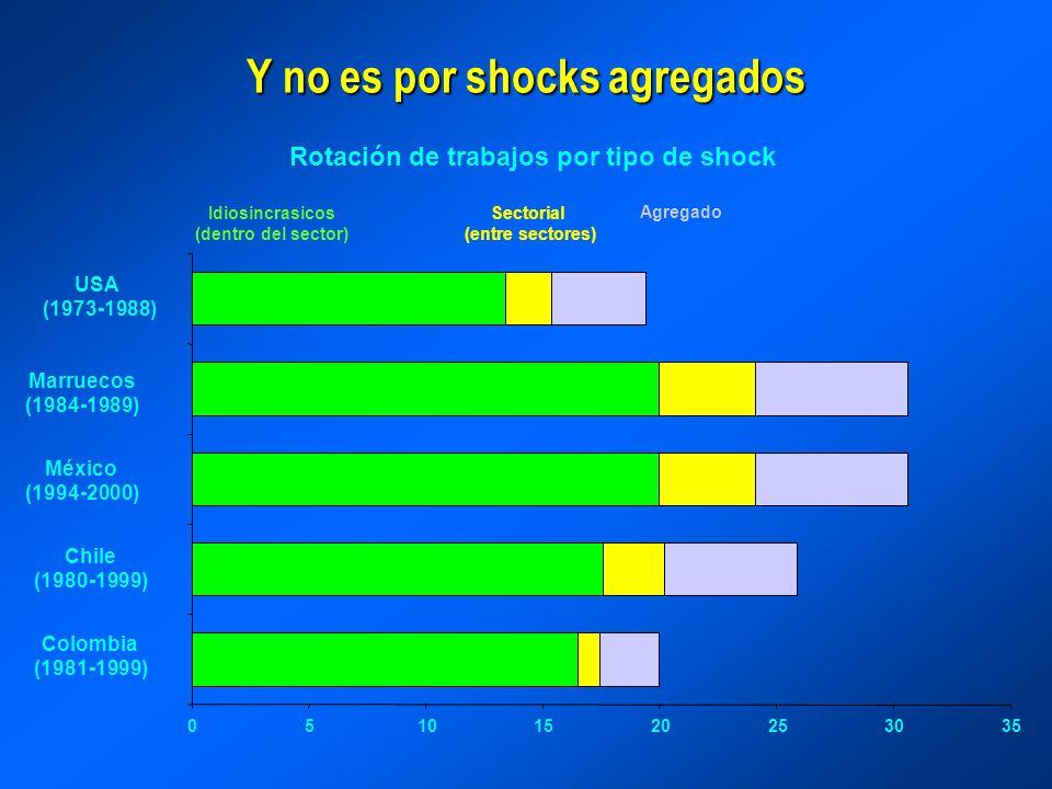 Y no es por shocks agregados Rotación de trabajos por tipo de shock 05101520253035 Colombia (1981-1999) Chile (1980-1999) México (1994-2000) Marruecos (1984-1989) USA (1973-1988) AgregadoSectorial (entre sectores) Idiosincrasicos (dentro del sector)