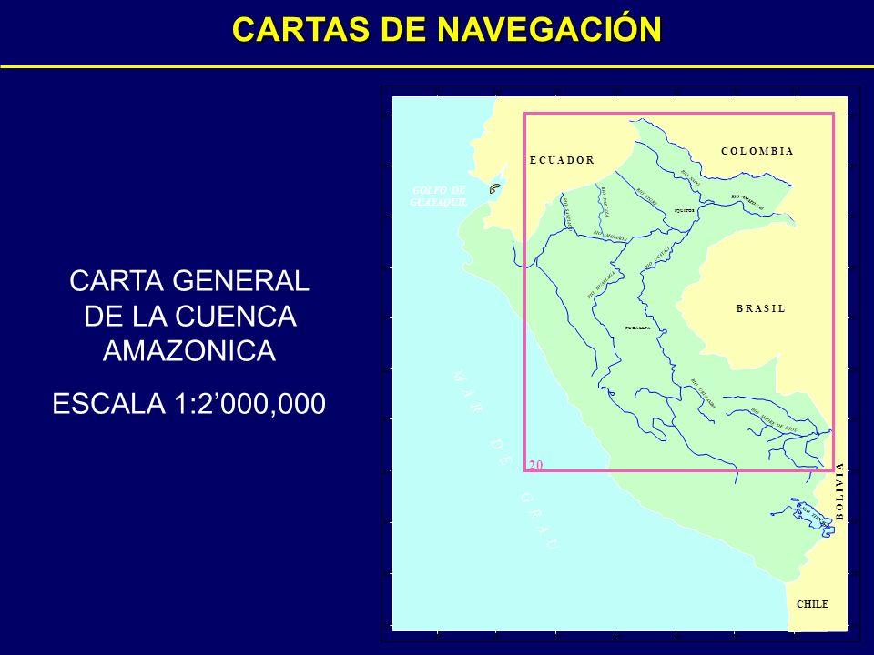 RIO TIGRE RIO SANTIAGO RIO MARAÑON RIO NAPO RIO AMAZONAS RIO PASTAZA RIO UCAYALI RIO HUALLAGA RIO URUBAMBA RIO MADRE DE DIOS IQUITOS PUCALLPA 70°74° 78°82° 20 72°76°80° 0° 4° 8° 12° 16° 20° 2° 6° 10° 14° 18° 0° 4° 8° 12° 16° 20° 2° 6° 10° 14° 18° 70°74° 78°82°72°76° 80° M A R D E G R A U LAGO TITICACA B O L I V I A B R A S I L E C U A D O R C O L O M B I A CHILE GOLFO DE GUAYAQUIL CARTA GENERAL DE LA CUENCA AMAZONICA ESCALA 1:2000,000 CARTAS DE NAVEGACIÓN