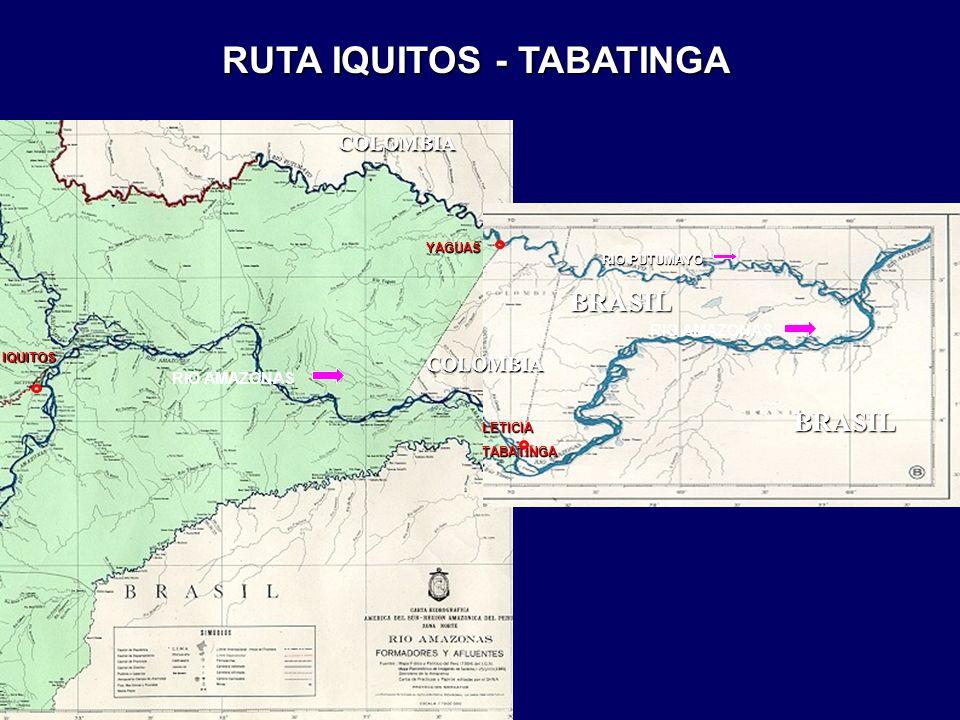 IQUITOS LETICIATABATINGA YAGUAS RIO PUTUMAYO RIO AMAZONAS RUTA IQUITOS - TABATINGA BRASIL BRASIL COLOMBIA COLOMBIA