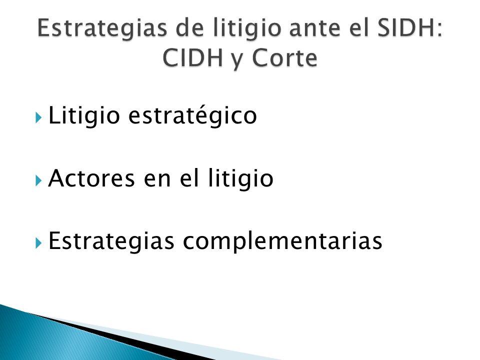 Litigio estratégico Actores en el litigio Estrategias complementarias