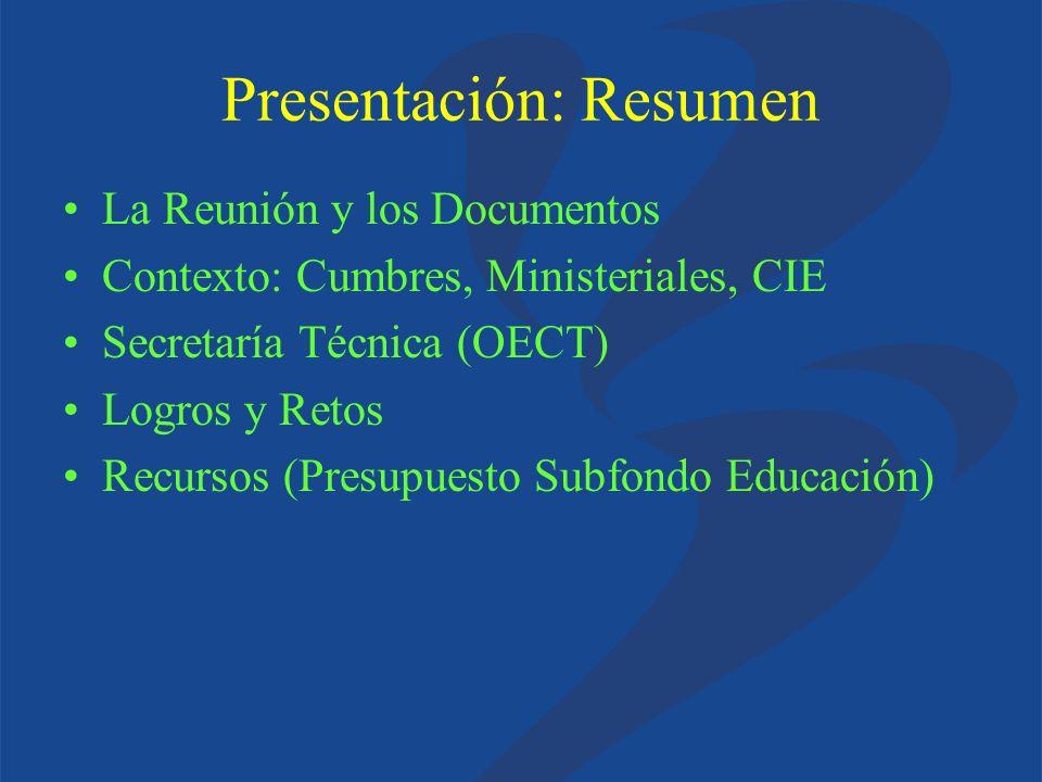 Presentación: Resumen La Reunión y los Documentos Contexto: Cumbres, Ministeriales, CIE Secretaría Técnica (OECT) Logros y Retos Recursos (Presupuesto