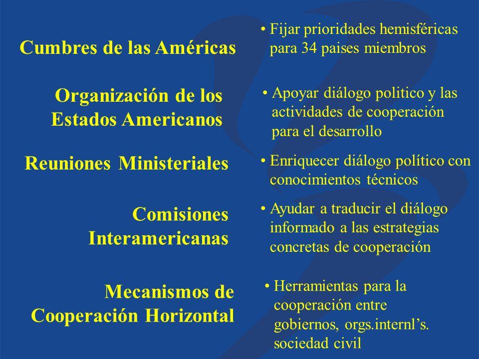 Apoyar diálogo politico y las actividades de cooperación para el desarrollo Enriquecer diálogo político con conocimientos técnicos Ayudar a traducir e