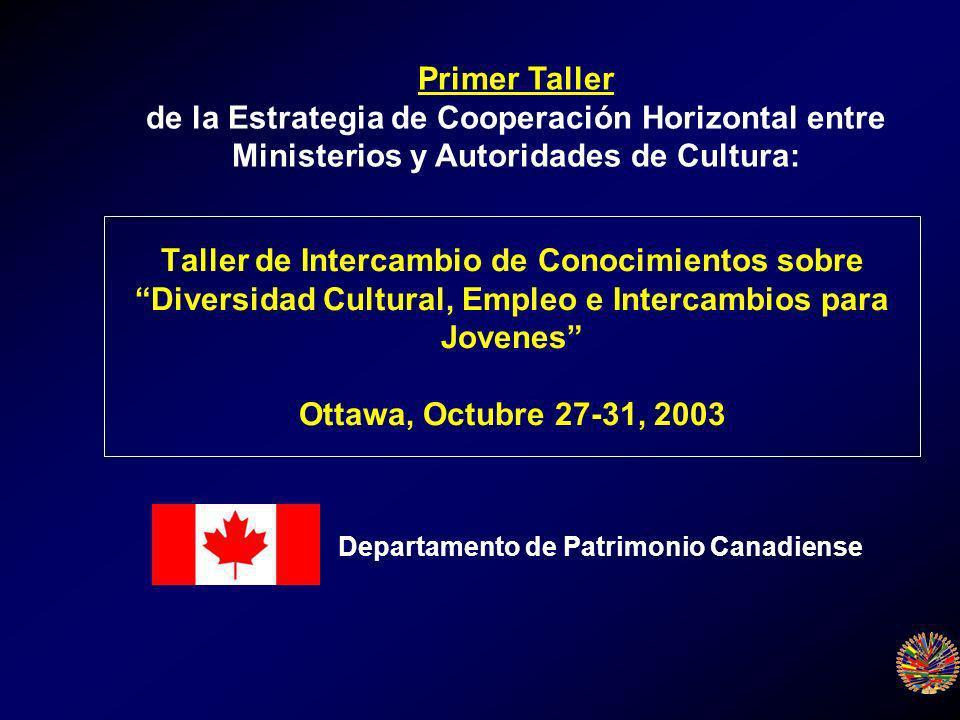 Taller de Intercambio de Conocimientos sobre Diversidad Cultural, Empleo e Intercambios para Jovenes Ottawa, Octubre 27-31, 2003 Primer Taller de la Estrategia de Cooperación Horizontal entre Ministerios y Autoridades de Cultura: Departamento de Patrimonio Canadiense