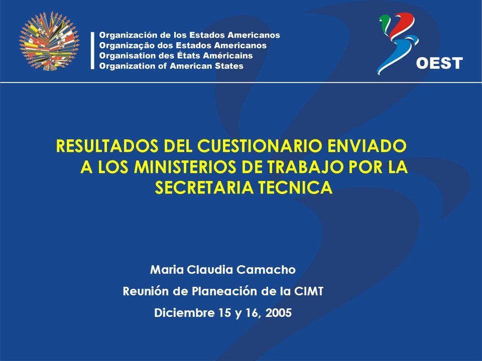 RESULTADOS DEL CUESTIONARIO ENVIADO A LOS MINISTERIOS DE TRABAJO POR LA SECRETARIA TECNICA Maria Claudia Camacho Reunión de Planeación de la CIMT Diciembre 15 y 16, 2005