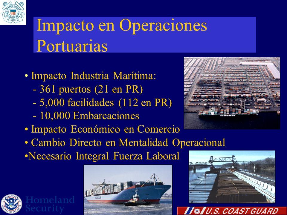 Impacto en Operaciones Portuarias Impacto Industria Marítima: - 361 puertos (21 en PR) - 5,000 facilidades (112 en PR) - 10,000 Embarcaciones Impacto