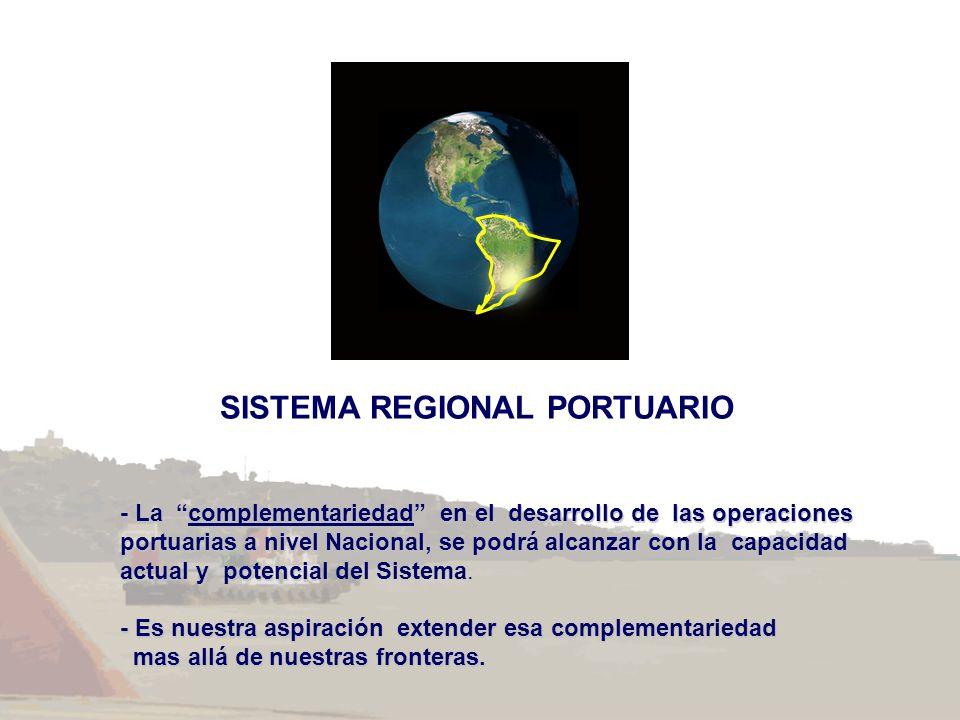 SISTEMA REGIONAL PORTUARIO - La complementariedad en el desarrollo de las operaciones portuarias a nivel Nacional, se podrá alcanzar con la capacidad