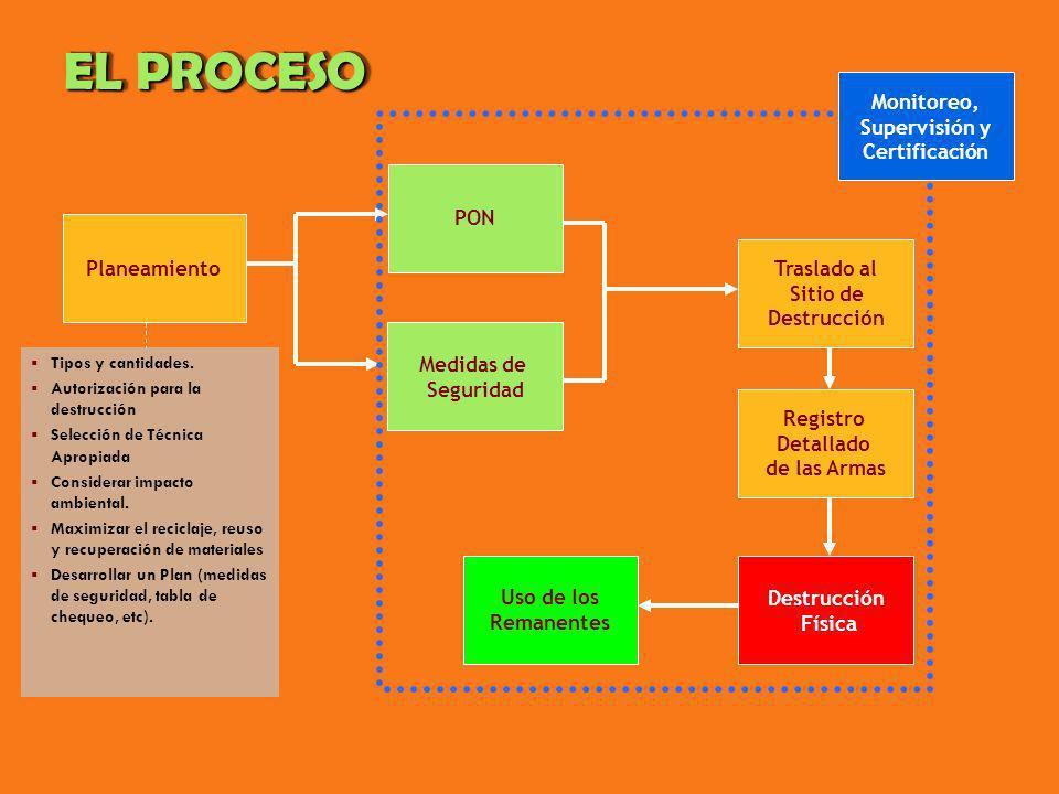 EL PROCESO Planeamiento Medidas de Seguridad PON Traslado al Sitio de Destrucción Registro Detallado de las Armas Destrucción Física Uso de los Remane