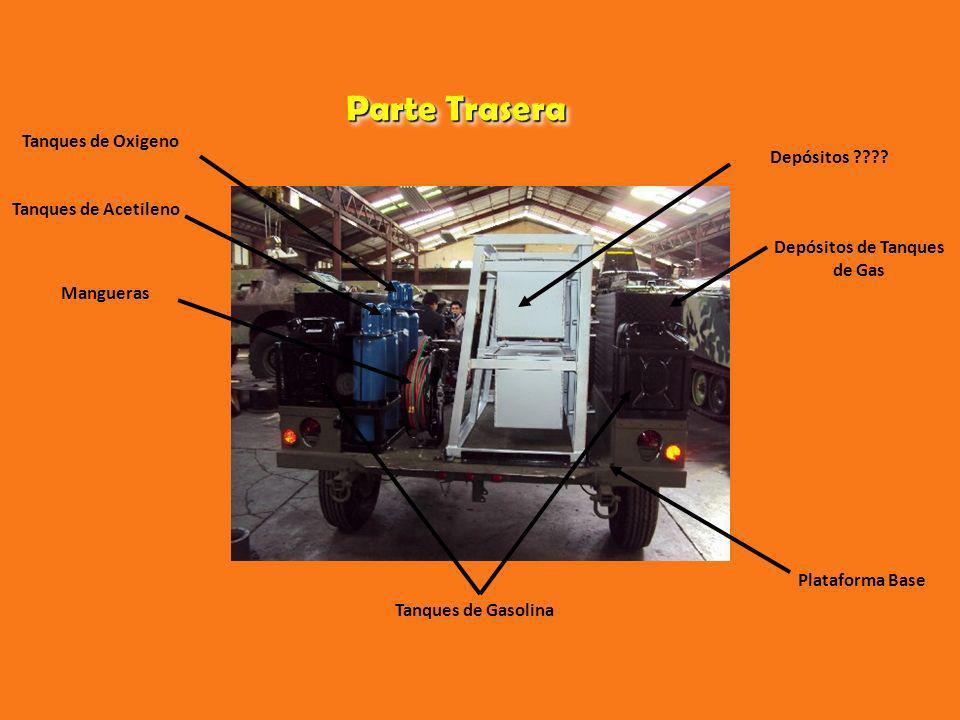 Parte Trasera Tanques de Oxigeno Tanques de Acetileno Mangueras Depósitos ???? Depósitos de Tanques de Gas Tanques de Gasolina Plataforma Base