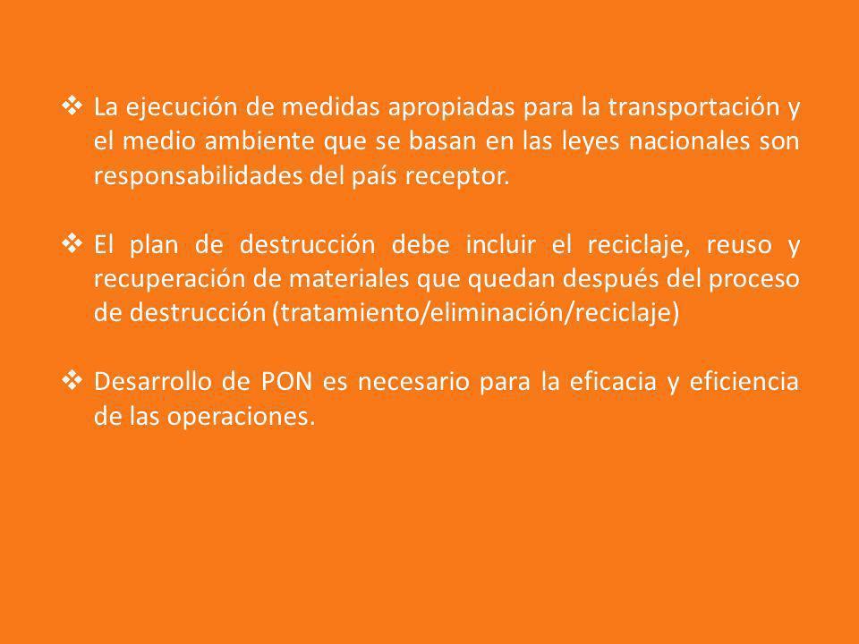 La ejecución de medidas apropiadas para la transportación y el medio ambiente que se basan en las leyes nacionales son responsabilidades del país rece
