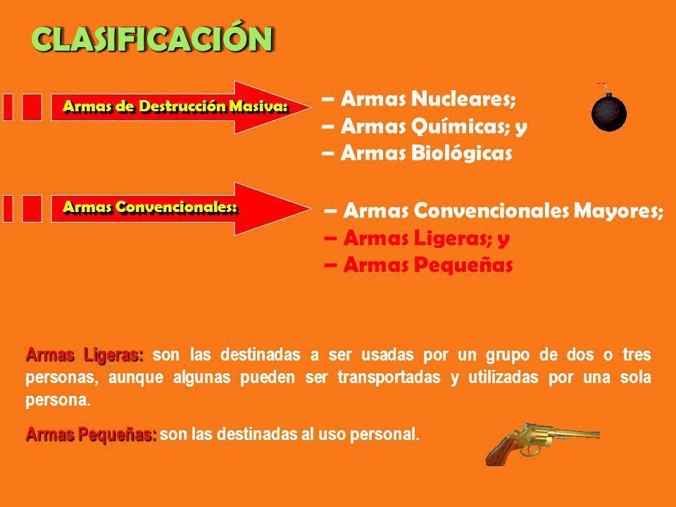 Armas de Destrucción Masiva: – Armas Nucleares; – Armas Químicas; y – Armas Biológicas – Armas Convencionales Mayores; – Armas Ligeras; y – Armas Pequ