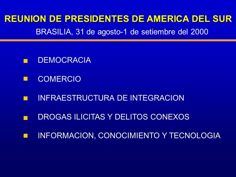 REUNION DE PRESIDENTES DE AMERICA DEL SUR DEMOCRACIA COMERCIO INFRAESTRUCTURA DE INTEGRACION DROGAS ILICITAS Y DELITOS CONEXOS INFORMACION, CONOCIMIEN