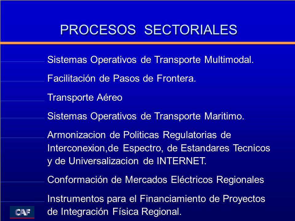 PROCESOS SECTORIALES Sistemas Operativos de Transporte Multimodal. Facilitación de Pasos de Frontera. Transporte Aéreo Sistemas Operativos de Transpor