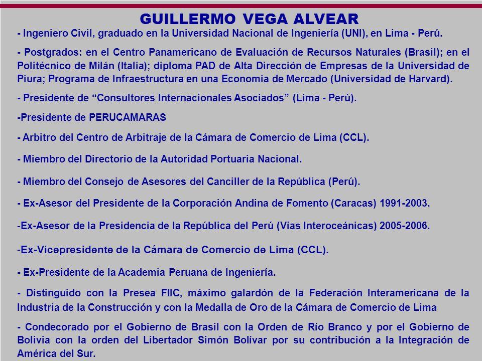 GUILLERMO VEGA ALVEAR - Ingeniero Civil, graduado en la Universidad Nacional de Ingeniería (UNI), en Lima - Perú. - Postgrados: en el Centro Panameric