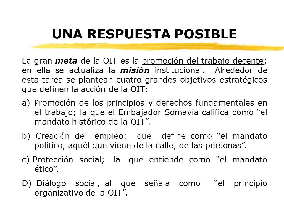 UNA RESPUESTA POSIBLE La gran meta de la OIT es la promoción del trabajo decente; en ella se actualiza la misión institucional.