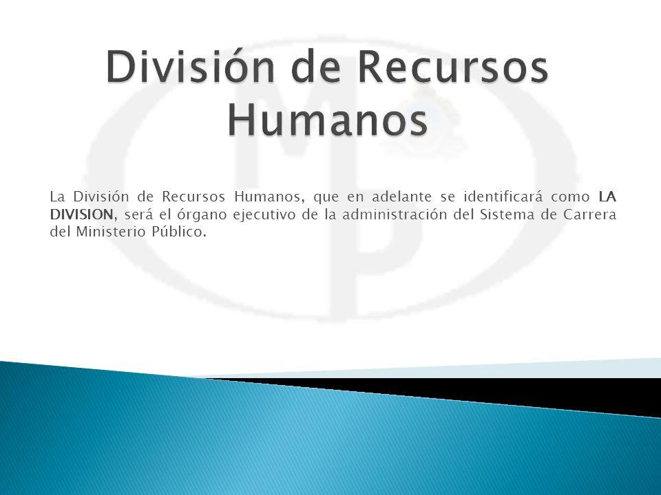 La División de Recursos Humanos, que en adelante se identificará como LA DIVISION, será el órgano ejecutivo de la administración del Sistema de Carrer