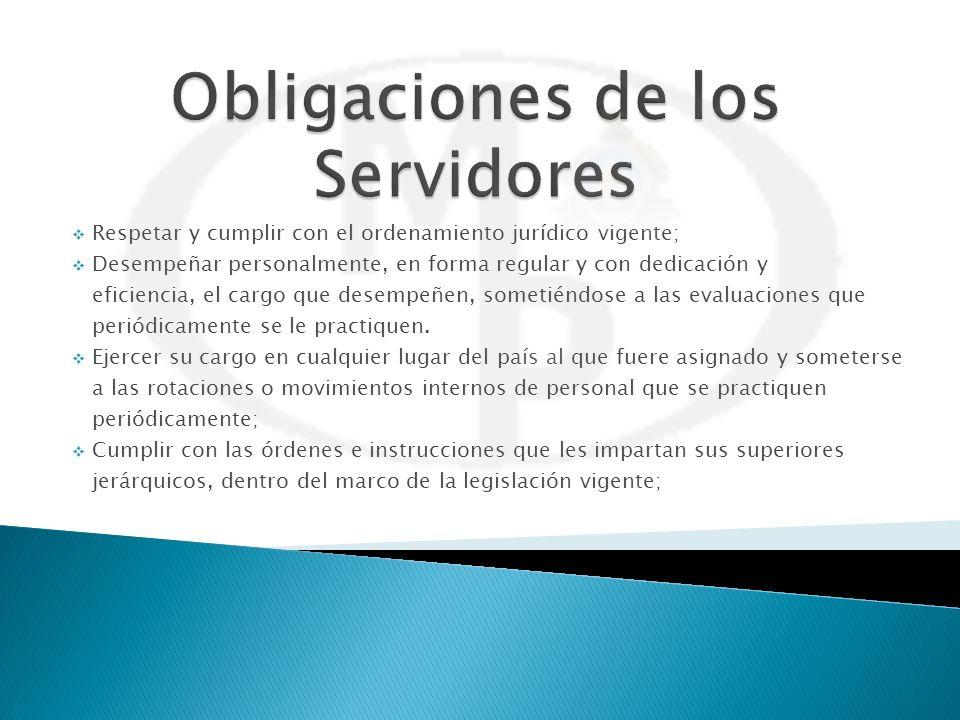Respetar y cumplir con el ordenamiento jurídico vigente; Desempeñar personalmente, en forma regular y con dedicación y eficiencia, el cargo que desemp