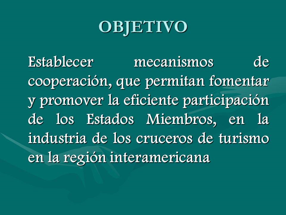 OBJETIVO Establecer mecanismos de cooperación, que permitan fomentar y promover la eficiente participación de los Estados Miembros, en la industria de los cruceros de turismo en la región interamericana